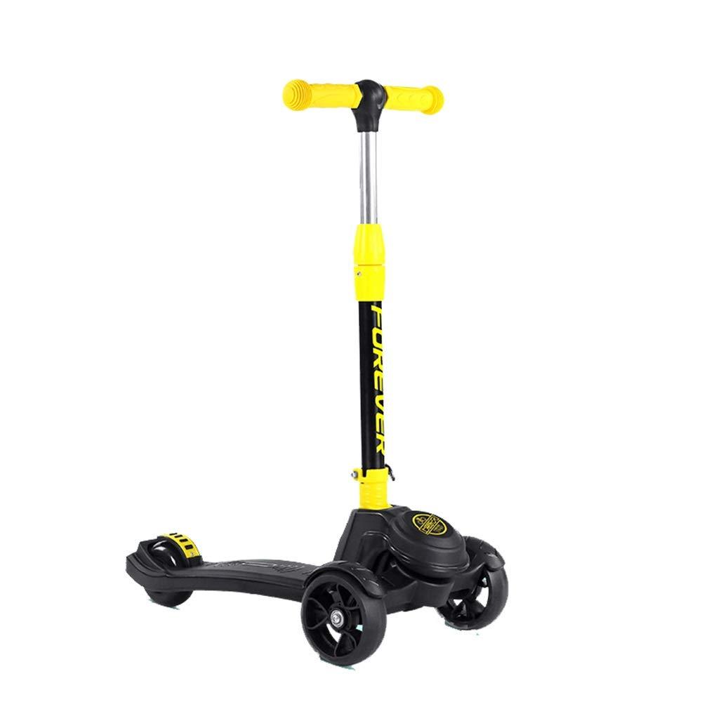 子供のためのスクーター3つの車輪のTバー調節可能な高さのハンドルのグライダーの車輪が付いているキックスクーター5から14歳までの子供のための広いデッキ (色 : 黄) 黄