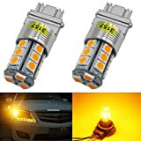 2-Pack 3157 3047 3057A Extremely Bright Amber/Yellow LED Light,12V-DC AMAZENAR Imported 5050 Chipset 18 SMD 3157A Base Dimmable Replacement For Tail BackUp Bulb Brake Turn Signal Light Parking Lamps