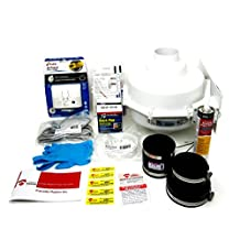 """Do it Yourself"" Radon Mitigation Kit Bundle (for all soil types) Includes a Professional Grade Radon Mitigation Fan (GP301), 8' Power cord, 4"" Exhaust guard, 2-Fernco Fittings (3""-3"", 4""-3""), DAP Hydraulic Cement 2-1/2 lbs, Disposable rubber gloves, Plug-in Carbon Monoxide Detector (with battery back-up) (batteries included), 1 tube polyurethane sealant, manometer (blue), labels and full colour installation manual."
