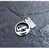 Jeep Girl Charm Necklace with Engraved Grill oIIIIIIIo Pendant