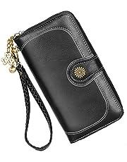Geldbörse Damen Leder Große Kapazität Geldbeutel Hohe Qualität Brieftasche, mit Viele Fächer und 11 Kartenfächer Lang Portemonnaie, Zipper Haspe Geldbörse.