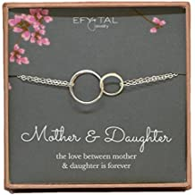 Mother Daughter Bracelet - Sterling Silver two interlocking infinity circles, Mothers Day Jewelry Gift