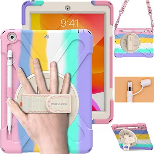 BRAECN iPad Case eighth Generation 10.2 Inch, Heavy Duty Kids Case with Pencil Holder Screen Protector Pencil Cap Holder Hand Strap Carrying Strap Kickstand for iPad eighth seventh Gen 10.2 2020 2019 -Rainbow