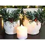 Christmas Candle Holders - Set of 2 - Red Berries and Garland Wrap White Glittery Candle Holders - 2 Flameless Votive Candles Included - Christmas Decorations - Christmas Centerpieces