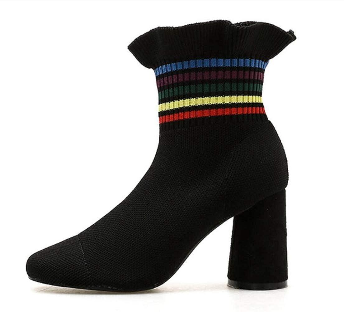 Shiney Damen Stiefel Rüschen Sweet High Heel Stretch Stiefel Stiefel Stiefel Chunky Heel Stiefelies 2018 Herbst Winter 406361