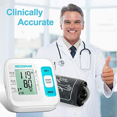 Blood Pressure Monitor, MEDGRAM Accurate Upper Arm BP Machine & Heart Rate Monitor with Cuff 22-40 cm, Automatic & Digital Meter Kit, 2 x 120 Sets Memory, FDA Approved