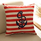 "YKA Fashion Cushion Cover Nautical Anchor Throw Pillow Case Decorhome Cotton Linen Square Decorative Pillowcase for sofa, Living Room 18 ""X18 "" (Red)"