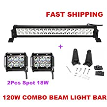 "Led Light Bar Primeprolight 24"" 120W Waterproof IP67 Spot Flood Combo LED Light Bar Car Lights Driving Fog Light with 2Pcs Spot 18W led lights for Off Road, Truck, Car, ATV, SUV, Jeep"