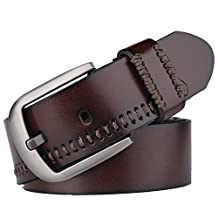 Fashion Men's Leather Waist Business Casual Luxury Pin Buckle Belt Camel