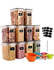 GoMaihe 1,6 l zestaw pojemników do przechowywania żywności, 10 sztuk, hermetyczne pojemniki z tworzywa sztucznego, z pokrywką, słoiki do przechowywania makaronu, musli, ryżu, mąki, dla zwierząt domowych, wielorazowego użytku.