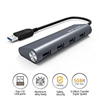 Wavlink Aluminum USB 3.0 Hub with Gigabit Ethernet Adapter, USB to Gigabit Ethernet Adapter 10/100/1000 RJ45 Converter 3 Ports Mini Docking Station