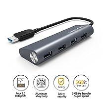 Wavlink Aluminum USB 3.0 Hub with Gigabit Ethernet Adapter, USB to Gigabit Ethernet Adapter 10/100/1000 RJ45 Converter 3 Ports Mini Docking Station
