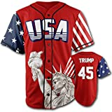 Greater Half Custom Baseball Jersey Button Down USA Red Trump #45 (Small-4XL