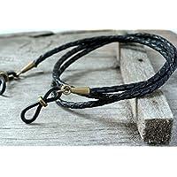 Maetri Eyewear Black Bolo Leather with Antique Brass Eyeglass Holder Chain for Men.