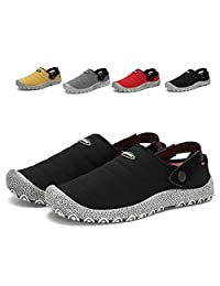 leaproo Slippers for Men Canvas Shoes Clogs Womens Slip On Walking Sandals Mules Casual Sneakers Indoor Outdoor