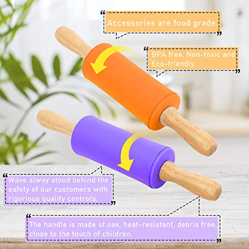 Koogel 9 Inch Mini Rolling Pin, 2 Pcs Kids Rolling Pin Small Rolling Pin Handle Rolling Pin for Home Kitchen Children Cake