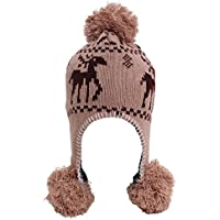 Simplicity Women's Knit Winter Beanie with Earflap and Pom Balls