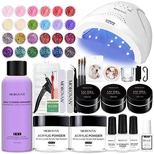 Morovan Acrylic Nail Kit - Glitter Acrylic Powder and Monomer Nail Liquid Nails Kit Acrylic Set with 48W Nail Lamp UV Gel Primer for Acrylic Nails