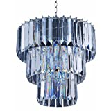 Park Madison Lighting PMC-6703-CL 4-Light Clear Acrylic Chandelier/Ceiling Fixture with Acrylic Prisms and Chrome Accents, 18-Inch x 18-Inch