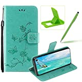 Strap Leather Case for Samsung Galaxy S10E,Green Wallet Leather Cover for Samsung Galaxy S10E,Herzzer Classic Pretty Butterfly Lotus Drawing Embossed Magnetic Stand Card Holders Case