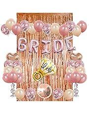 مجموعة زينة لحفلة توديع العزوبية للعروس - ستارة رائعة من ورق الالومنيوم لون ذهبي وردي، 20 بالون مطاطي، و10 بالونات بقصاصات لامعة، بالونات مايلر على شكل خاتم وكلمة برايد (عروس) وقلوب