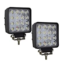 """Willpower 4"""" inch 48W LED Work Light Bar Square Spot Beam 4400LM Driving Pods Work Lamp for Off Road ATV SUV Boat 4X4 Jeep JK 4Wd Truck (2Pcs,48W)"""