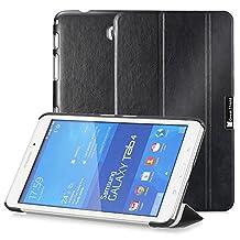 GreatShield® Samsung Galaxy Tab 4 8.0 [SLEEK] PU Leather Smart Cover Slim Hard Shell Case (Built-In Kickstand) for Galaxy Tab 4 8.0 inch Tablet (Black)