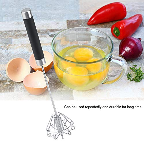 Fdit Rotatable Stainless Steel Kitchen Mixer Balloon Egg Beater Whisk for Whipping Manual Milk Cream Whisk Stirring Egg Tools
