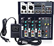 Professional 100~240V Mixer 4-Channel Audio Mixer Sound Board Console System Bluetooth Recording Mixers Stereo