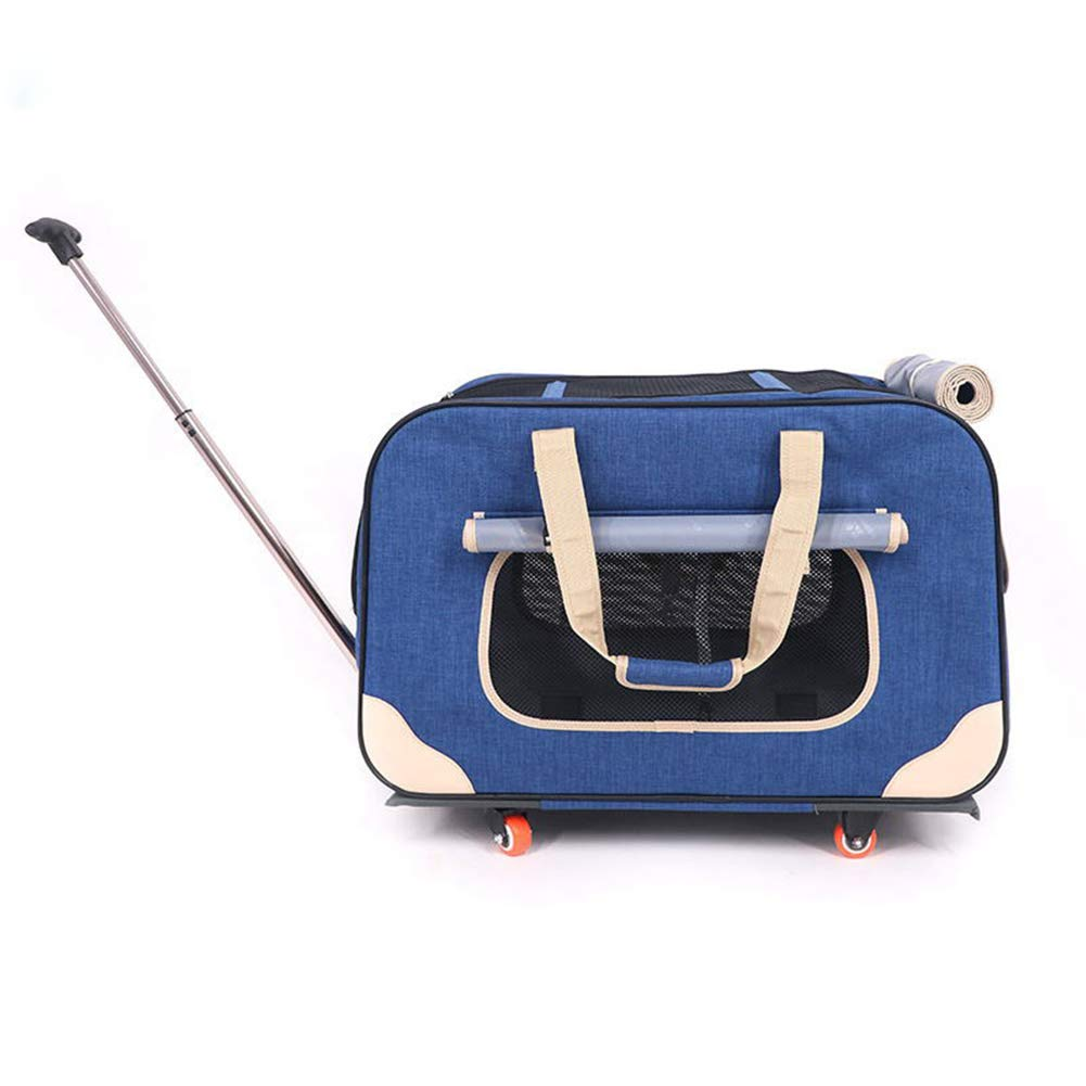bluee X&MX Pet Outside Four Rounds Foldable Trolley Bag Dog Outdoor Breathable TwoDegree Adjustment Cart Cat Multifunction Mute Baggage Box Portable Pet Backpack Carrier