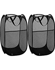 2 Pack Pop Up Mesh Laundry Hamper Basket for Dirty Clothes, Portable Handles Foldable to Easy Storage & Washable Design for Travel Home Use