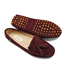 TDA Womens Tassel Leather Slip On Driving Walking Trail Running Loafers Boat Shoes Multi Colored