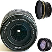 Canon 18-135mm IS STM Lens (WHITE BOX) + High Definition Wide Angle Auxiliary Lens + High Definition Telephoto Auxiliary Lens