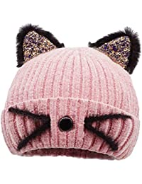 Bellady Mother Children Sequin Cat Ears Hats Warm Knit Crochet Beanies Cute Fashion Skull Cap, Adult_Pink