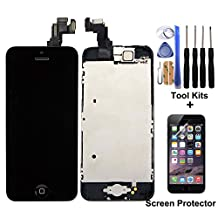 CELLPHONEAGE® For iPhone 5C New LCD Touch Screen Replacement with Frame Black Full Set with Home Button and Camera Digitizer Display + Free Tool Kits + Screen Protector