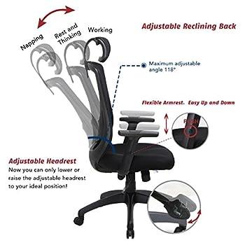 VIVA OFFICE Ergonomic High Back Mesh Chair with Adjustable Headrest and Armrest