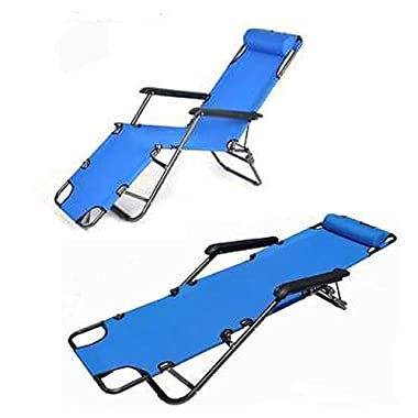 Hindom Portable Stable Fold Down Camping Patio Home Travel Folding Bed Bed Frames (173cm-Blue)