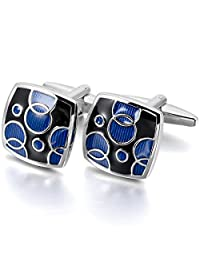 MOWOM Blue Black 2PCS Rhodium Plated Enamel Cufflinks Square Shirt Wedding Business