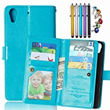 LEMORRY HTC Desire 626 / 626s Wallet Case, 2in1 TPU Cover + Flip Premium PU Leather Magnetic Bumper Protective Pouch Blue