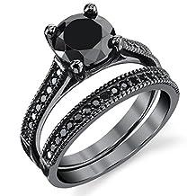 Metal Masters Co.® Black Sterling Silver 1.25 Carat Round Black Cubic Zirconia Engagement Wedding Ring Bridal Set