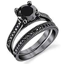 Metal Masters Co.® Black Sterling Silver 1.25 Carat Round Black Cubic Zirconia Engagement Wedding Ring Bridal Set