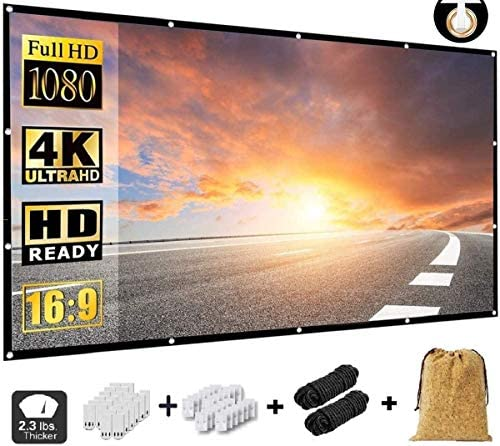Projector Screen 150 Inch,Portable Movie Screen for Outdoor Indoor,4K 16:9 HD Foldable Wrinkle-Free Projection Screen(1.1 GAIN,160°Viewing),Support Front Rear Projection,with A Cork Bag(150 inch)