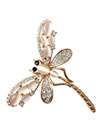 Navachi 18k Gold Plated White Opal Crystal Dragonfly Az7906b Brooch Pin