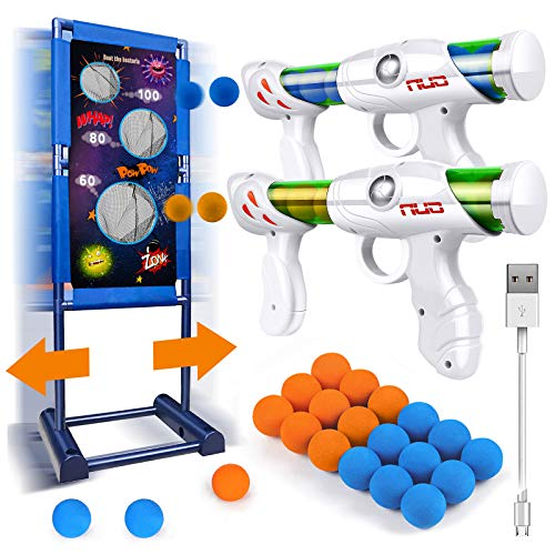Gun Toy Gift for Boys Age of 4 5 6 7 8 9 10 11 12 Years Old Kids Girls Perfect Present for Birthday Children's Day with Moving Shooting Target 2 Blaster Gun and 18 Foam Balls, Compatible with NERF Gun
