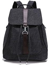 Hanshu Canvas Solid Drawstring Backpack Bags, Leather Belt D¨¦cor Buckle Daypacks, Black