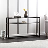 Holly & Martin Baldrick Glass Media Console Table, Matte Black Finish