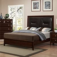 Roundhill Furniture Mateo 077 Cappuccino Finish Wood Queen Size bed, Queen