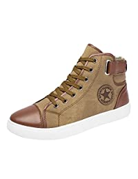 kinf Women Canvas Shoes Lace-Up Ankle Flat Trainers High Top Hip Hop Shoes Unisex
