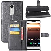 Alcatel A3 XL Case, BasicStock Flip Wallet Case Premium PU Leather Back Cover [Card Slots] [Stand] Folio Cover for Alcatel A3 XL (Black)