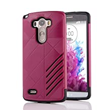 MOONCASE LG G3 Case Hybrid Armor Tough Rugged [Anti Scratch] Dual Layer TPU +PC Frame Protective Case Cover for LG G3 Hotpink